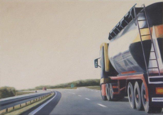 Petrol tanker, 2007, olie på lærred, 50 x 70. Pressefoto.