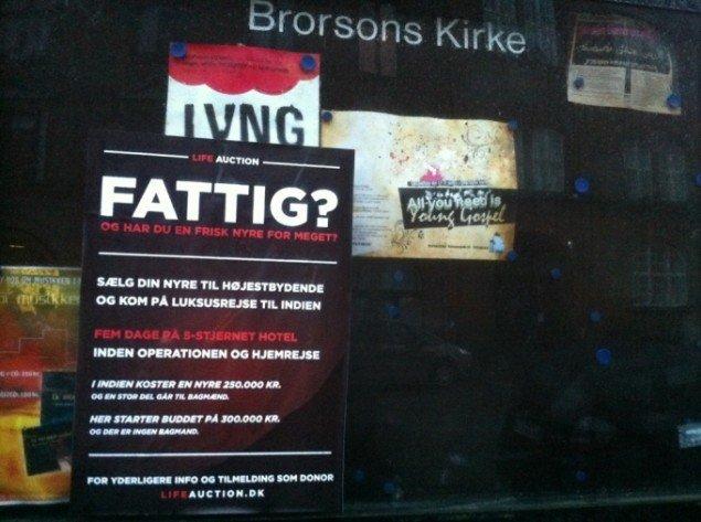 Reklamplakat for Lifeauktion på Brorsons Kirke i Køøbenhavn.