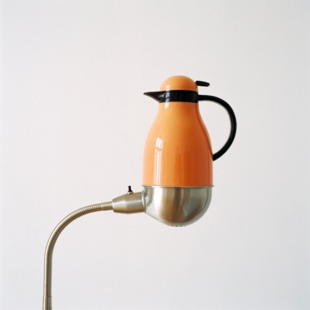Thermos placed on lamp, 2012. Pressefoto.