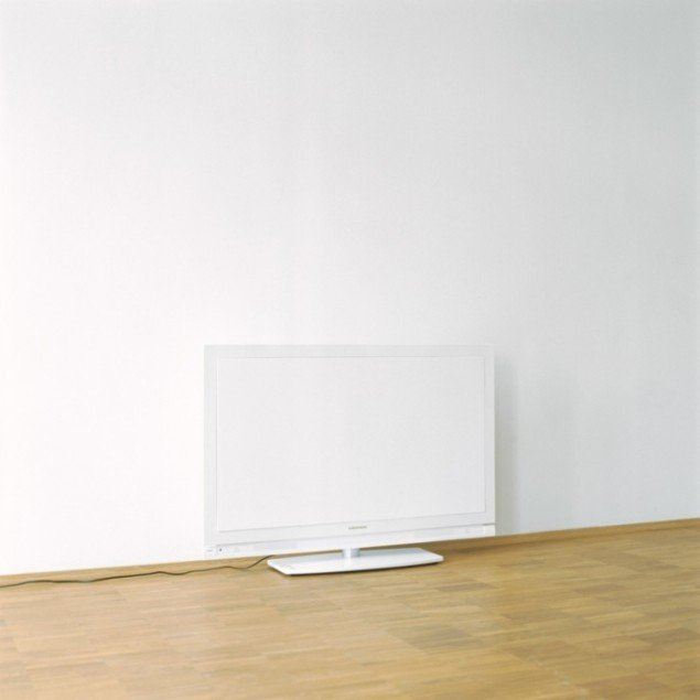 TV screen covered with cardboard, 2012. Pressefoto.