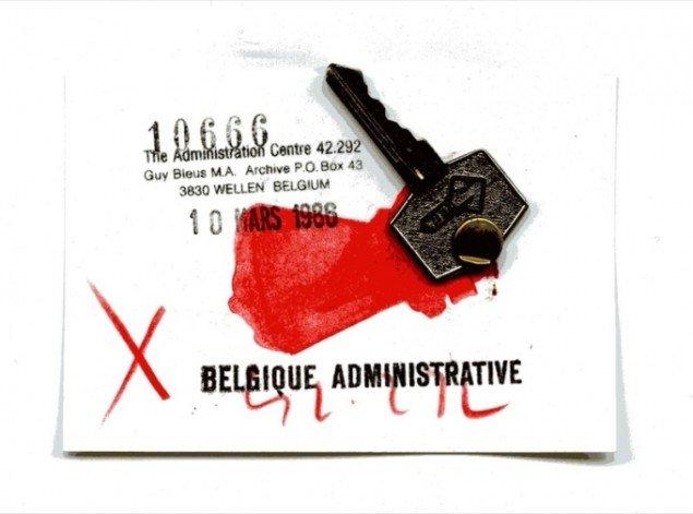 Pocket Museum (1984): Den belgiske kunstner Guy Bleus sendte en nøgle og et visitkort. Det kunne godt have givet nogle praktiske problemer efterfølgende. Pressefoto.