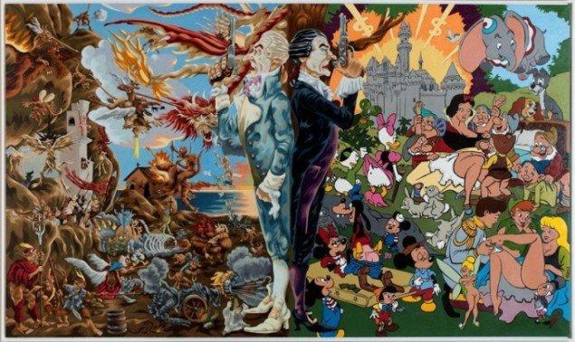Martin Bigum: Sacred & Profane, 2003 Olie på lærred. 304 x 180 cm Tilhører Collection Marc Blondeau, Genève, Schweiz.