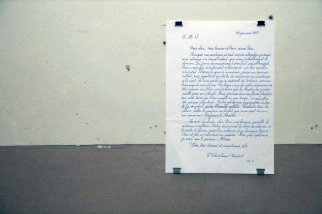 2.2.1861, 2009. Sankt Théophane Vénards brev til sin far lige før han blev halshugget. Kopieret af Danh Vo, 2009. Pressefoto.