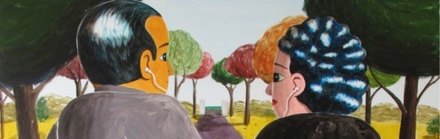 A couple of listeners (detalje), 2011, 200 x 170 cm, aryl på lærred. Foto: Courtesy Charlotte Fogh Gallery.