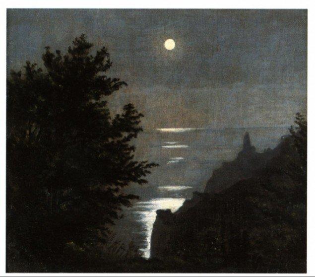 J.C. Dahl: Kysten ved Laurvig i Norge i måneskin, 1840. Olie på papir, 7,8 x 13,1 cm. Thorvaldsens Museum. Foto: Henrik Wichmann.