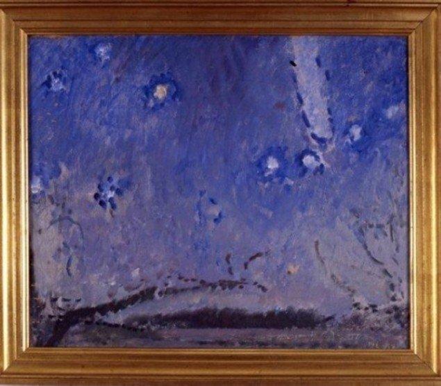Harald Leth: Stjernehimmel med kometer Arend-Roland, 1957. Olie på lærred, 37 x 46 cm. Privateje. Foto: Planet Foto/ Carl Webb.