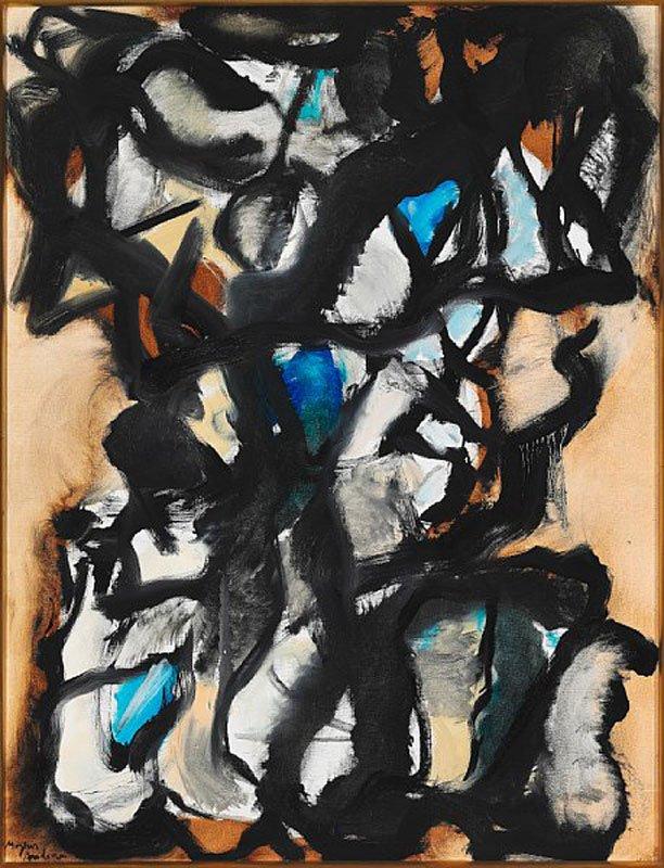 "Mogens Andersen: ""Composition"", 1964. Sign. Mogens Andersen. Vurdering: 25-30.000 kr. Hammerslag: 18.000 kr."