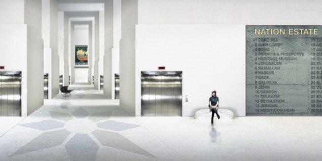 Nation Estate – Main Lobby, C-print, 60x120cm, Larissa Sansour, 2012. Pressefoto.