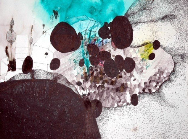 Nanna Riis Andersen: Uden titel. Blæk, tusch og akvarel på papir. Foto: Charlotte Fogh Gallery.