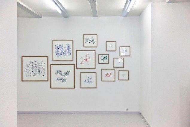Johanne Lykke Poulsen: Telephone Drawings, 2012, blandet teknik på papir. Foto: Charlotte Fogh Gallery.