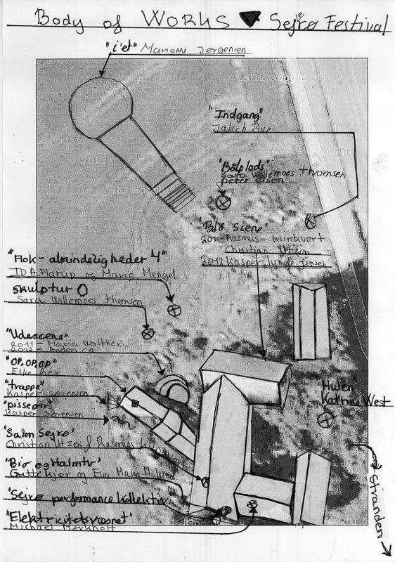 Kort over kunstværker på Sejerø Festival. Udformet af Marianne Jørgensen.