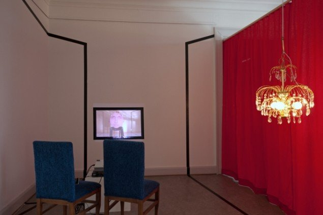 Frans Jacobi: Interiør til visning af Rundhoveder og Spidshoveder. Foto: SAK