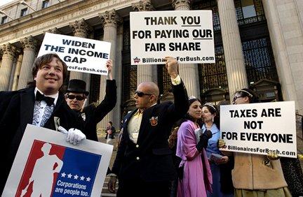 Billionaires for Bush protest (2000). Foto: Fred Askew.