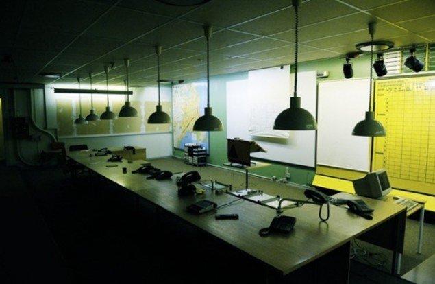 Kommunikationsrummet i den 1100 m2 store bunker i Gentofte. (Bernstorff Bunkerens facebookside)