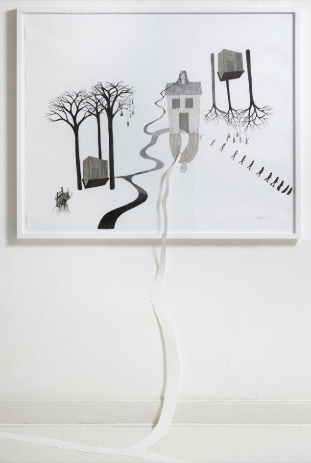 Ende, 2011, tusch på papir, 97 x 110 cm. Foto: Anders Sune Berg