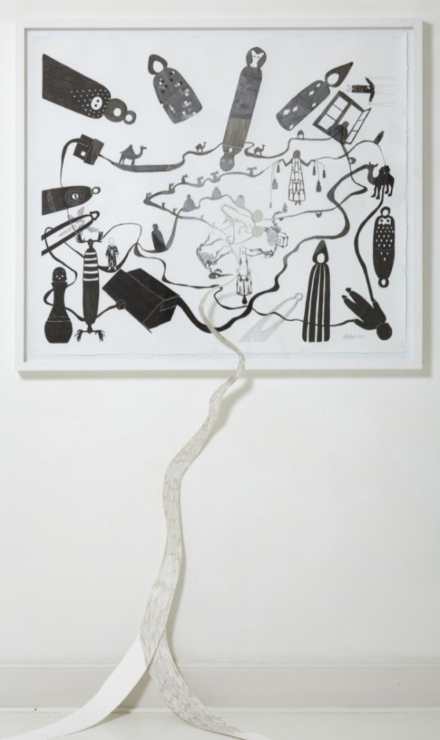 Hjem, 2011, tusch på papir, 110 x 134 cm. Foto: Anders Sune Berg