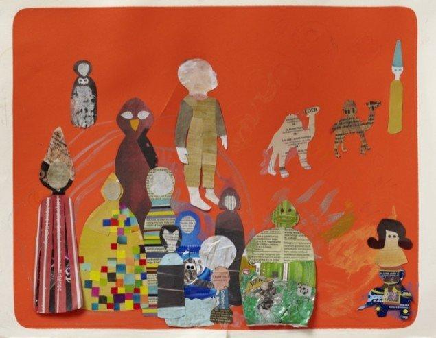 Fund på vejen. Fra Holløse til Ørby. Fra Vibe til Agnete, 2010, collage, skrald på papir med tryk flade, 43 x 54 cm. Foto: Anders Sune Berg