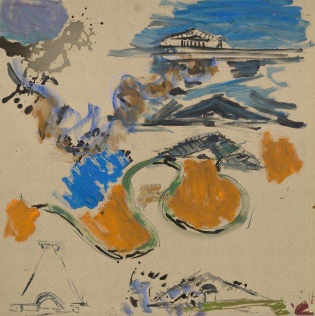 Per Kirkeby: Uden titel, 2011, Blandteknik på masonit, 122 x 122 cm, (© Galerie Michael Werner)