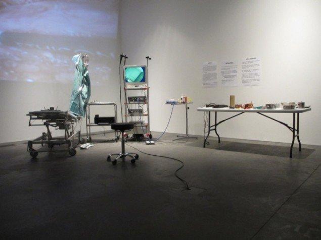 Evaristti har opstillet udstyr til kikkertundersøgelse, så publikum kan tage et billede af deres indre - men det er kun på skrømt. Foto: Ole Bak Jakobsen