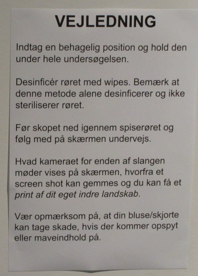 Vejledningen til kikkertundersøgelsen. Foto: Ole Bak Jakobsen