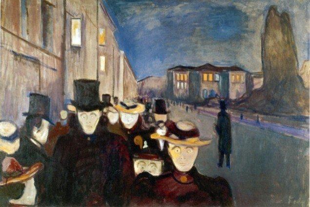 Edvard Munch: Aften på Karl Johan, 1892. Foto: Werner Zelin.