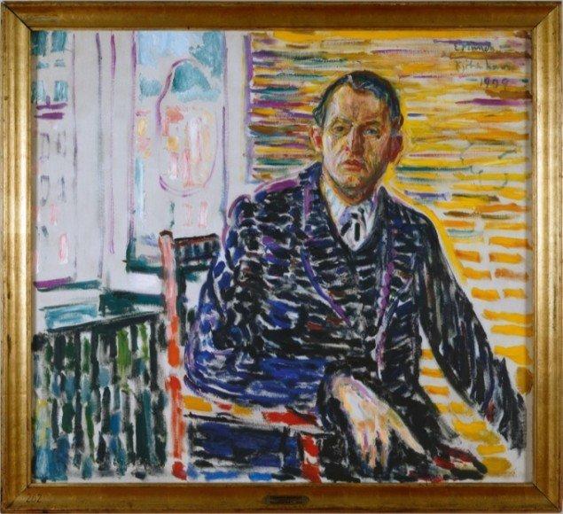 Edvard Munch: Selvportræt fra klinikken, 1909. Foto: Werner Zellin.