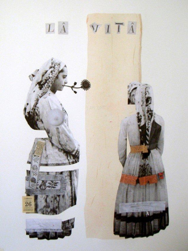 Augusta Atlas collagemalerier kan ses på udstillingen Viva Arte. Pressefoto.