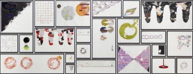 Untitled, 2012, forskellige materialer på papir, 200 x 520 cm (23 indrammede tegninger). Courtesy Nils Stærk. Foto: Anders Sune Berg.