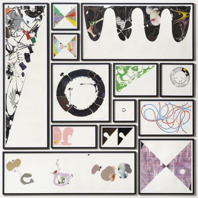 Untitled, 2011, 13 indrammede værker på papir i forskellige materialer, 210 x 210 cm. Privat samling, Mexico. Foto: Anders Sune Berg.