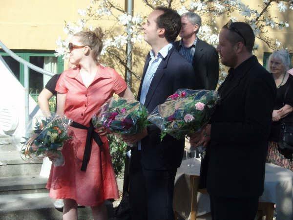 De tre kunsthistorikere bag udstillingen - Majken Kramer Overgaard, Magnus Kaslov og Thomas Boström. Foto: Aukje Lepoutre Ravn.