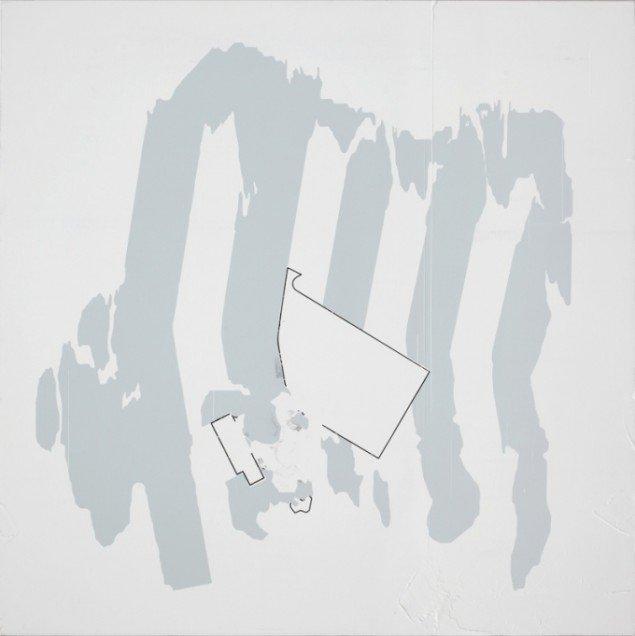 Kristofer Hultenberg: Uden titel, Akryl og grafit på træplade (88 x 88 cm). Foto: Erling Lykke Jeppesen