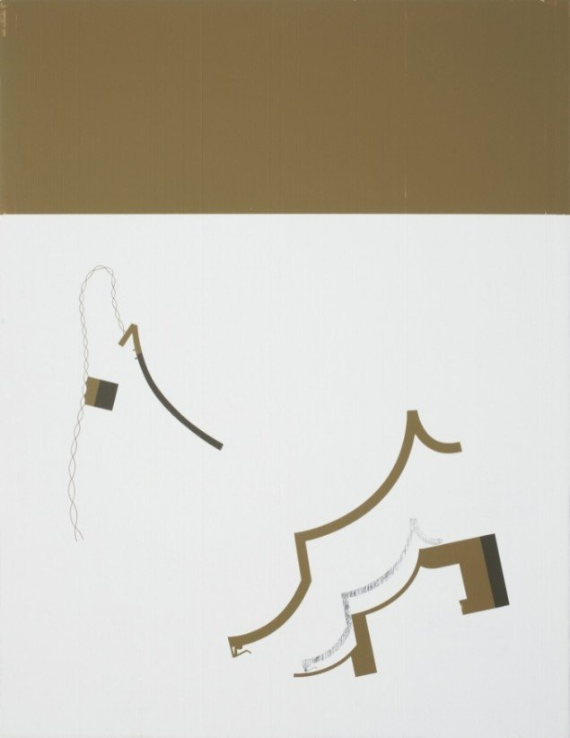 Kristofer Hultenberg: Uden titel, Akryl og grafit på træplade (72 x 56 cm). Foto: Erling Lykke Jeppesen
