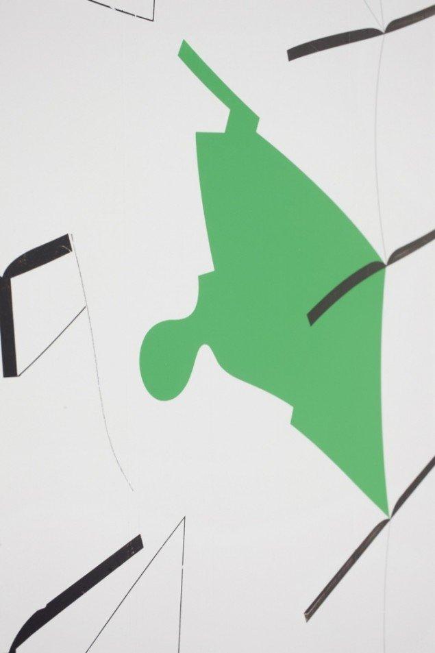 Detalje af Kristofer Hultenbergs Uden titel, Akryl og grafit på træplade (150 x 168 cm). Foto: Erling Lykke Jeppesen