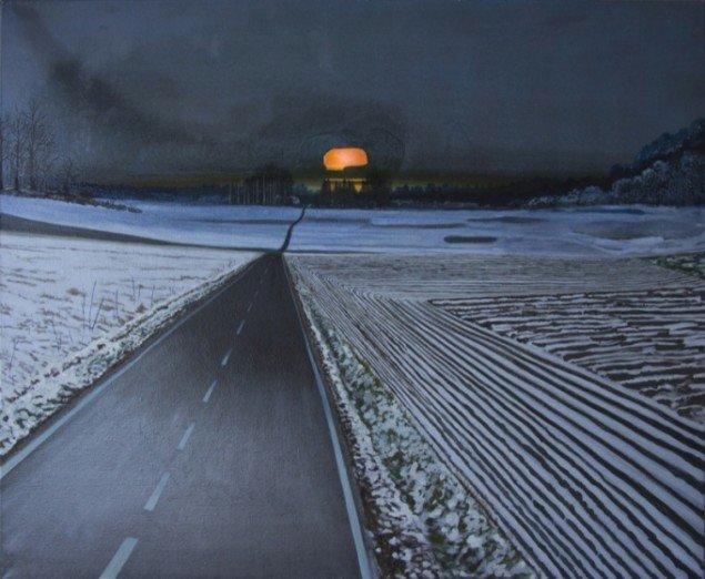 Landskab med orange kranie, 2012, olie på lærred, 95 x 115 cm. Pressefoto.
