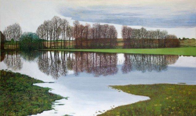 Mirror Landscape, 2011, olie på lærred, 210 x 125 cm. Pressefoto.