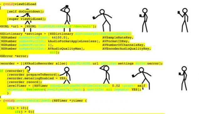JODI: ZYX, 2012. Projektside – dialog med App Store. (Pressefoto)
