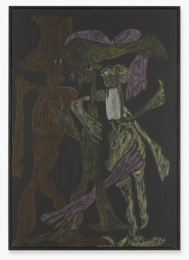 Trinkteufel, 2012, crayon on blackboard, 69 cm x 48 cm. Foto: Def Image, Berlin.