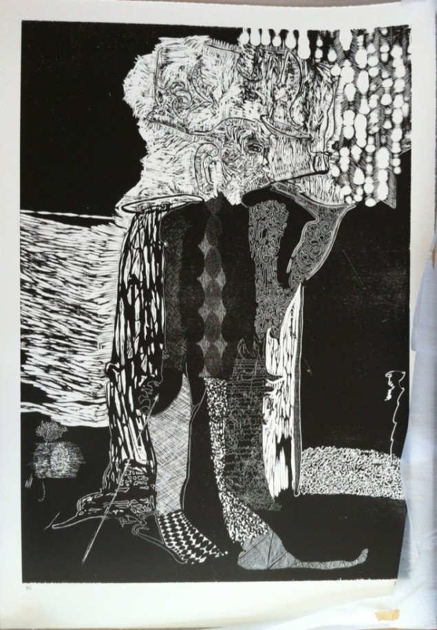 In Exiles return, 2011, woodcut, 112 cm x 78 cm. Ed. 6. Courtesy Galleri Bo Bjerggaard. Foto: Anders Sune Berg, Kbh.