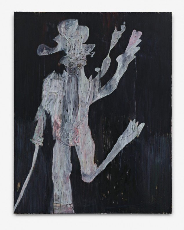 He has Decided to Degrade Himself. The open Question is With Who, 2012, acrylic and crayon on linen, 185 cm x 144 cm. Courtesy Galleri Bo Bjerggaard. Foto: Hans-Georg Gaul, Berlin.