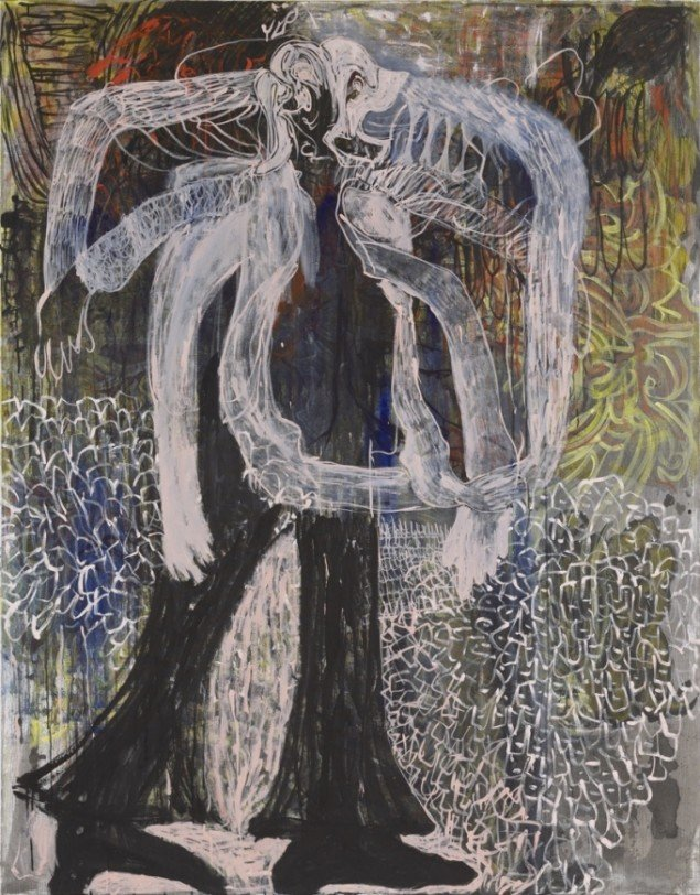 Can you Still Hang?, 2012, acrylic and crayon on canvas, 185 cm x 145 cm. Courtesy Galleri Bo Bjerggaard. Foto: Def Image, Berlin.