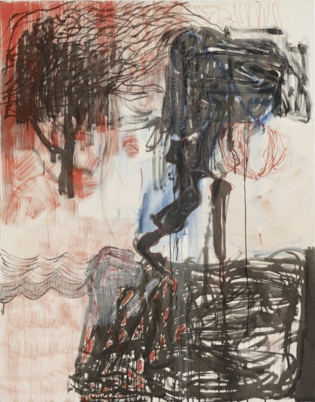 You Made Me a Murderer, 2012, acrylic and crayon on canvas, 185 cm x 145 cm. Courtesy Galleri Bo Bjerggaard. Foto: Hans-Georg Gaul, Berlin.