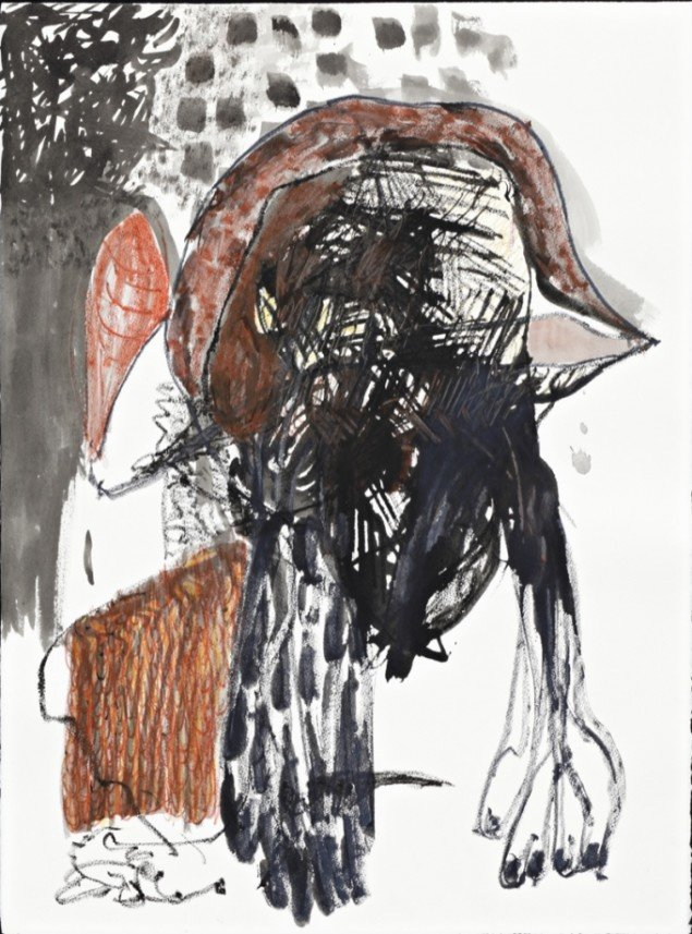 The Reservist, 2012, acrylic and crayon on Arches BFK Rives 250 gr paper, 76,5 cm x 56,5 cm. Courtesy Galleri Bo Bjerggaard. Foto: Hans-Georg Gaul, Berlin.