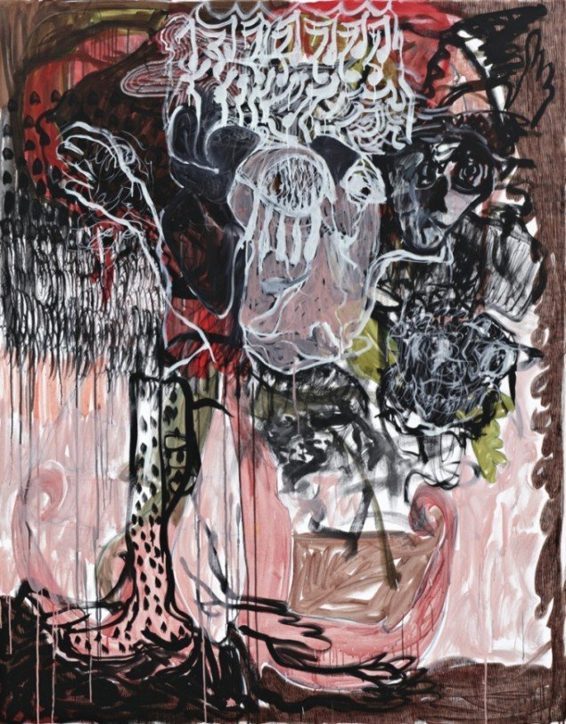 Can't Dance for 'em When they Quit, 2012, acrylic and crayon on linen, 185 cm x 145 cm x 5 cm. Courtesy Galleri Bo Bjerggaard. Foto: Hans-Georg Gaul, Berlin.