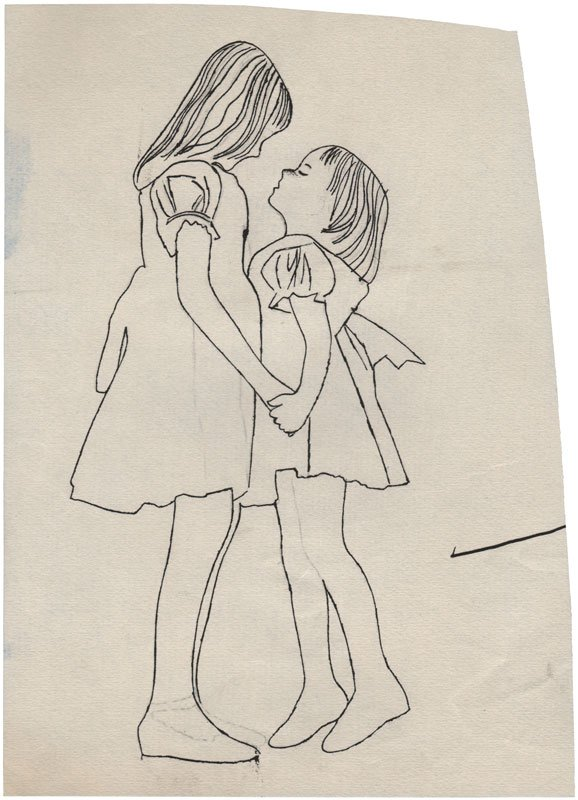 No Title (Two Girls Holding Hands), c. 1954 (Courtesy of Daniel Blau Munich/London © Andy Warhol Foundation for the Visual Art Inc.)