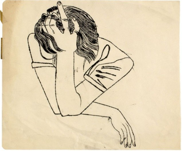 No Title (Pensive Girl resting Head on her Hand), c. 1951 (Courtesy of Daniel Blau Munich/London © Andy Warhol Foundation for the Visual Art Inc.)