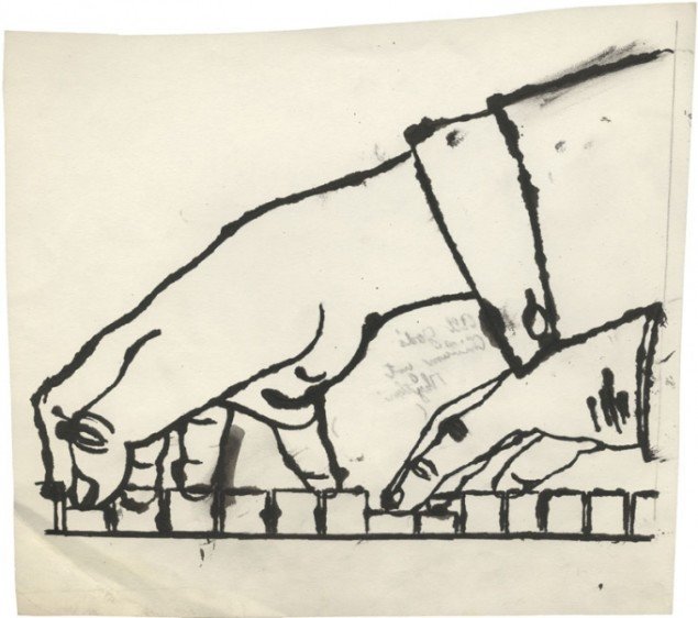 No Title (Two Hands Playing Piano), c. 1954 (Courtesy of Daniel Blau Munich/London © Andy Warhol Foundation for the Visual Art Inc.)