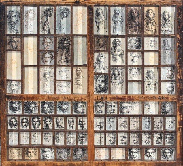 Kurt Trampedach: Sættekasse med 86 miniatureportrætter. Pressefotograf Børge Venges samling.