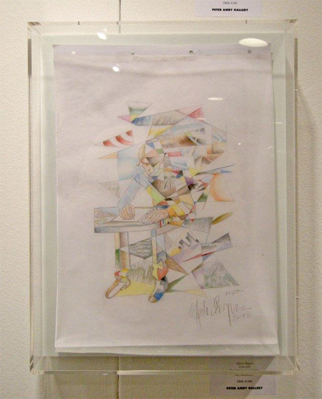 Martin Bigum tegning i plexiglaskasse hos Peter Amby