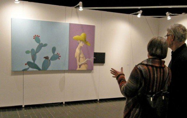 Publikum fik mulighed for at se dette nye værk af Michael Kvium hos Nils Stærk