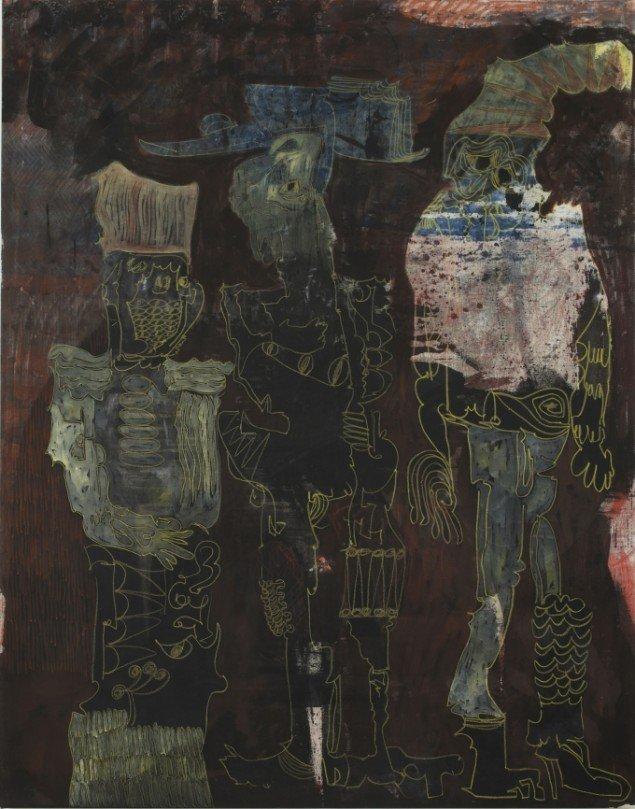 Neurotic Imposters, 2010. Akrylmaling og vokspastel på bomuldslærred, 185 x 145 cm. Foto: Andy Keate.